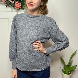 Ann Taylor LOFT Puff Sleeve Heathered Gray Top